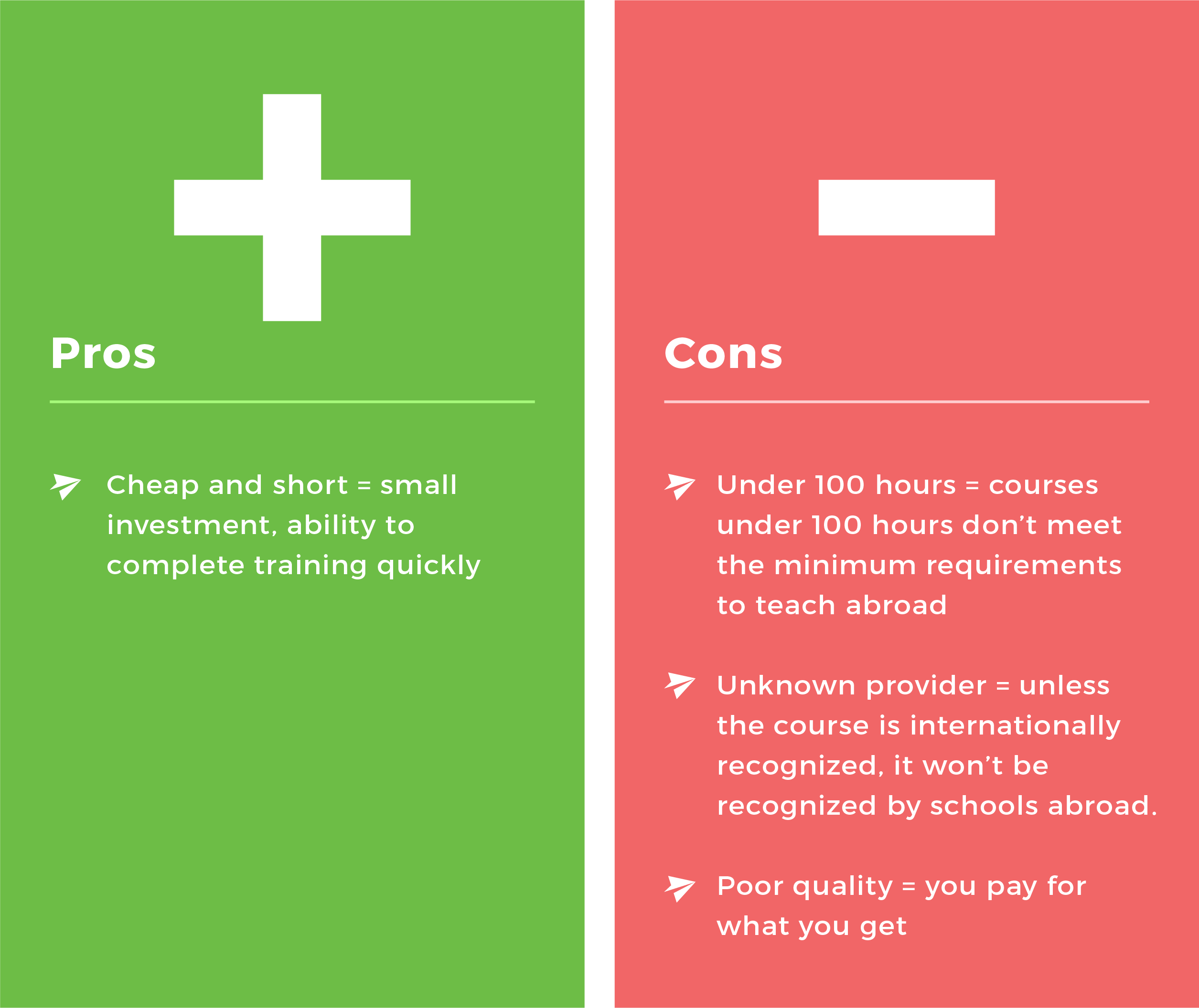 TEFL Pillar page pros&cons