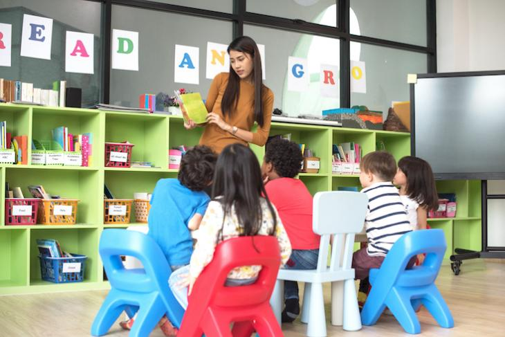 Teacher playing TEFL games for young learners