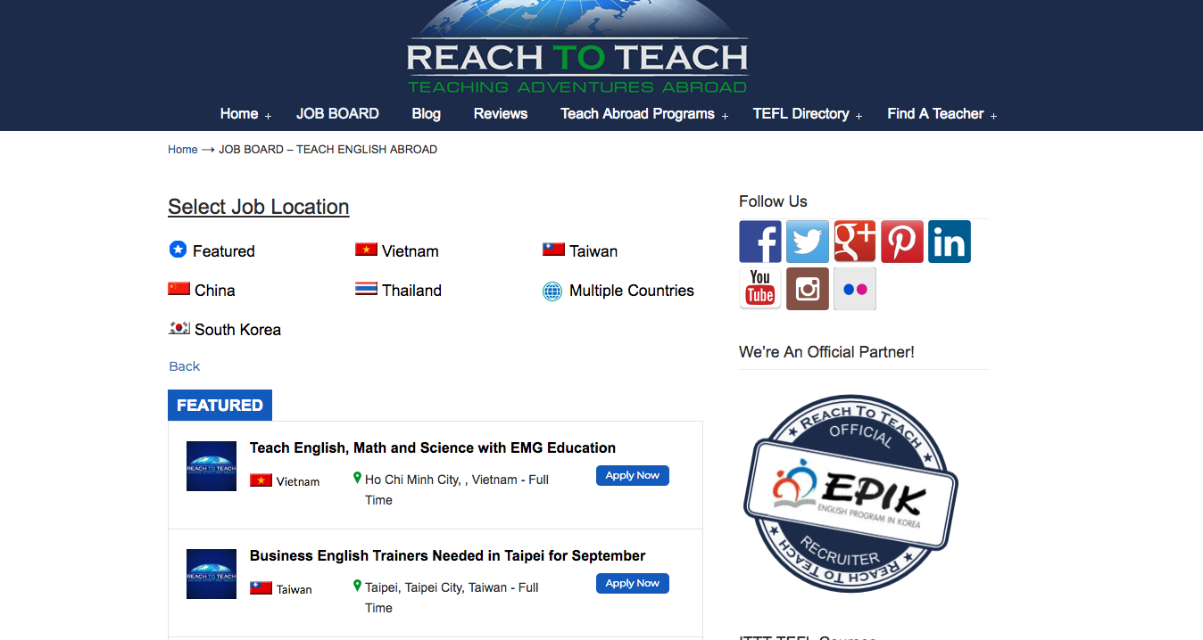 english teaching job sites