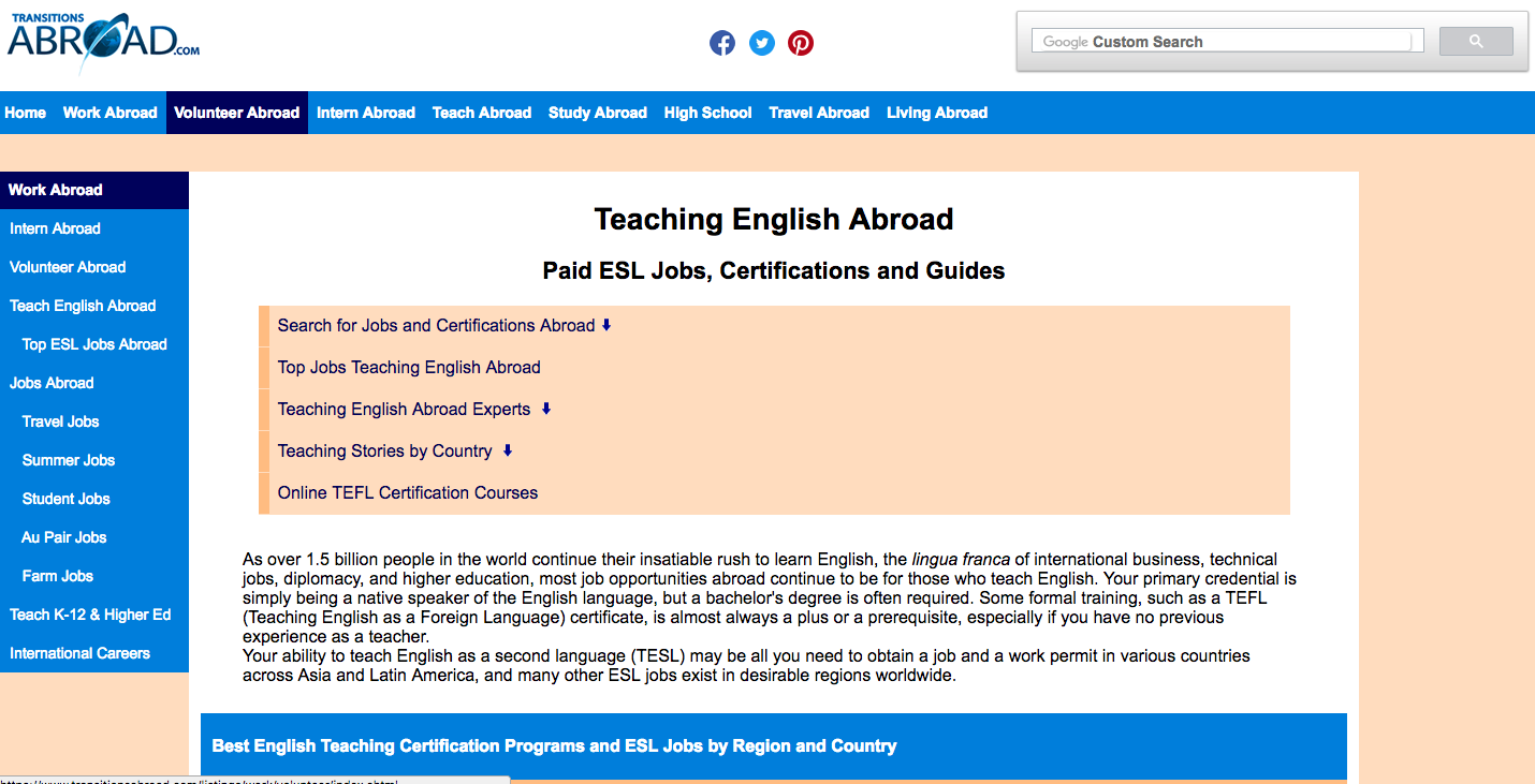teach english abroad jobs postings