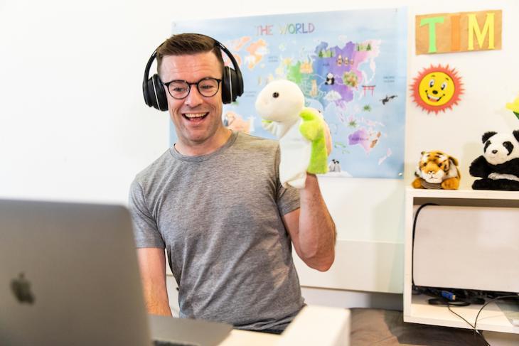 Photo of man teaching English online fulltime.