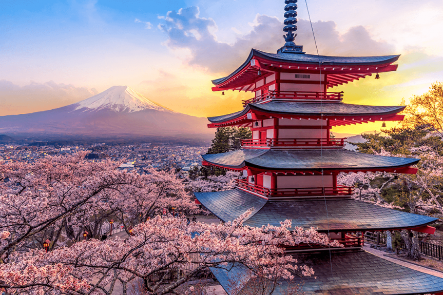Fujiyoshida Japan view of Mount Fuji and Chureito pagoda at sunset