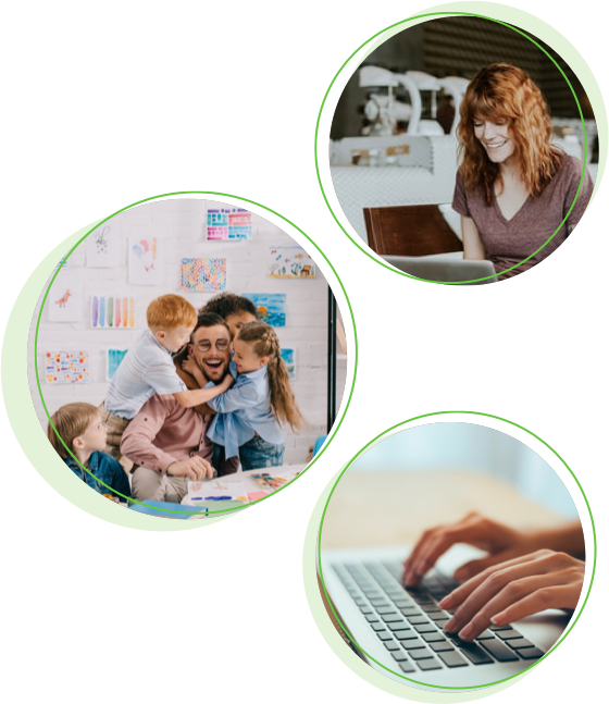 Three circles with images inside them: a teacher smiling at her laptop, a teacher being hugged by three school kids and hands typing at a laptop - teacher recruitment software.